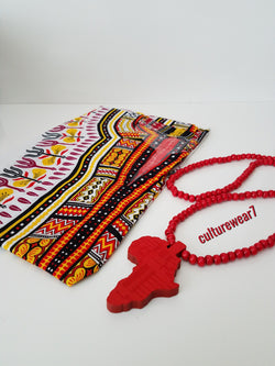 Dashiki & African Map Necklace Set