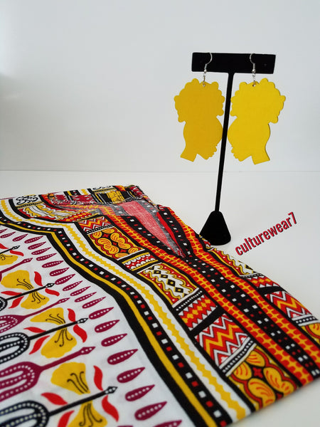 Dashiki & Afro Wooden Earrings Set