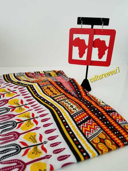 Dashiki & African Map Rectangle Earrings Set