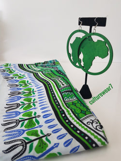 Dashiki & African Map Wooden Earrings Set