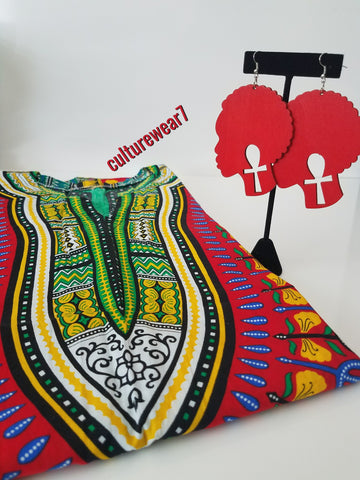 Dashiki & Red Afro Wooden Earrings Set