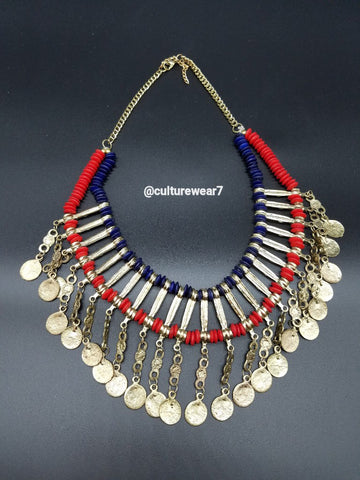 Gold, Red/Blue Bead Vintage Coin Necklace