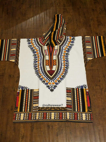 Dashiki Hoodie White/ Yellow, Black