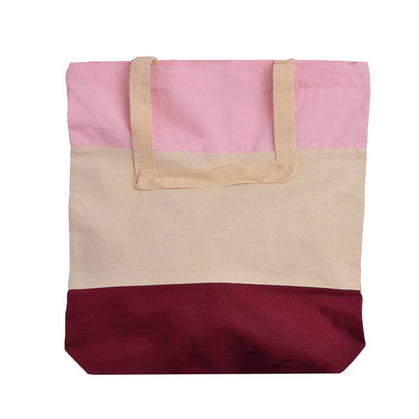Tri-Color Canvas Shopping Tote