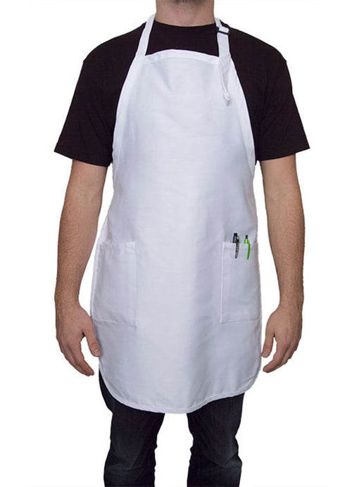 white full length apron with pockets