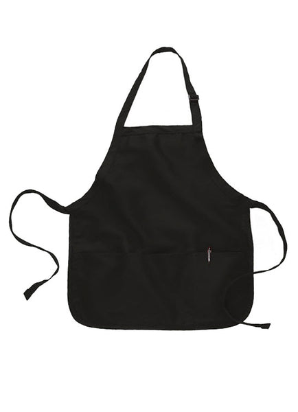 black short length apron with pouch
