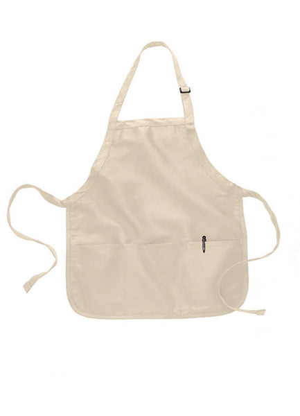 short length apron with pouch in natural