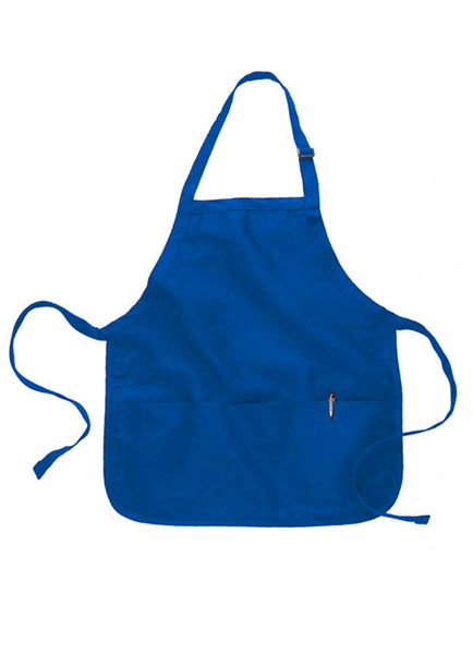 royal blue short length apron with pouch