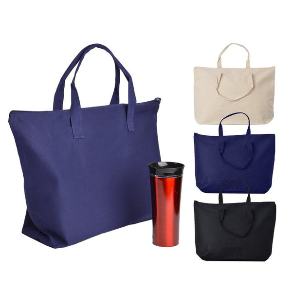 Sturdy Zippered Closure Canvas Tote Bag