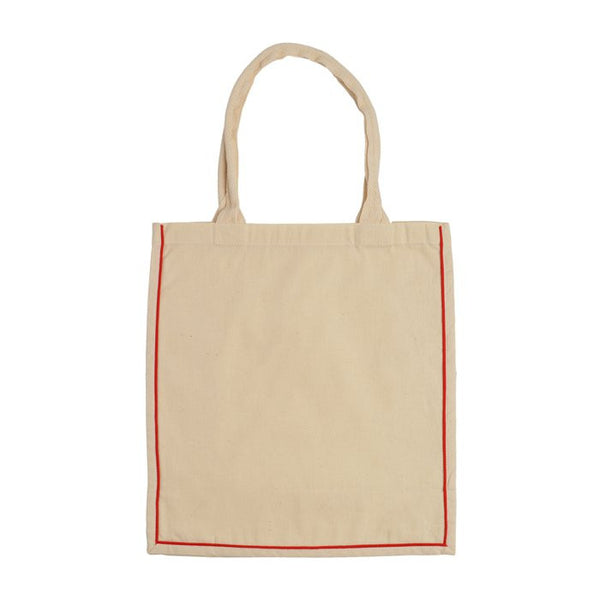 Fancy Shopper Tote Bag With Colored Stripe