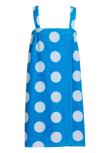 aqua polka dot girls terry bathwrap towel