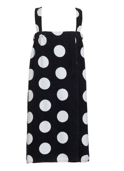 black polka dot girls terry velour bathwrap towel