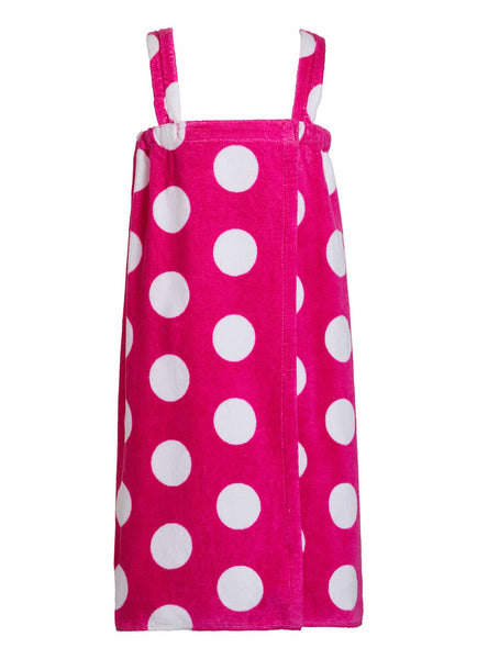 girls terry polka dot bathwrap towel in fuchsia