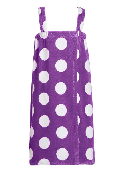 girls terry polka dot bathwrap towel in purple