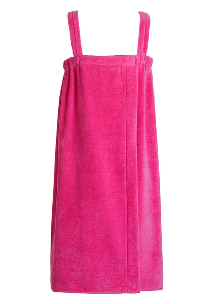 girls terry velour bathwrap towel in hot pink