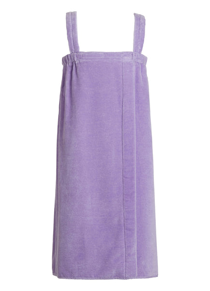 lavender girls terry velour bathwrap towel