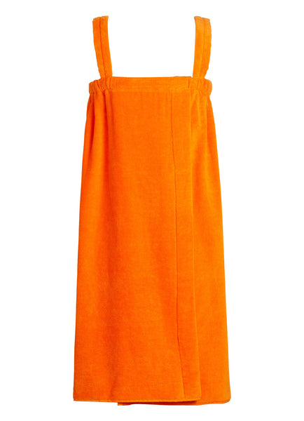 orange girls terry velour bathwrap towel