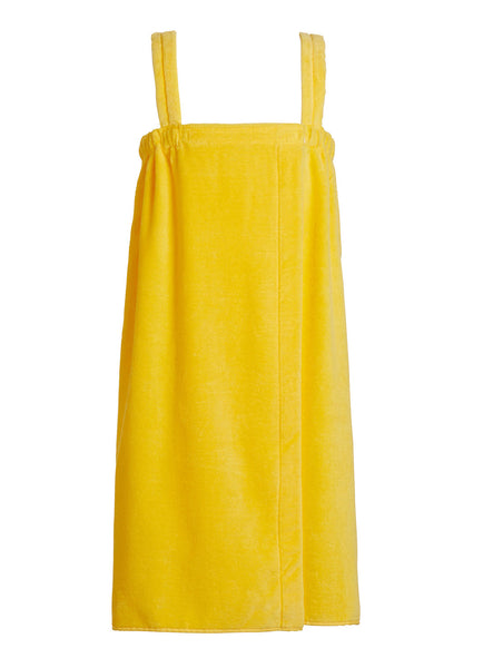 yellow girls terry velour bathwrap towel