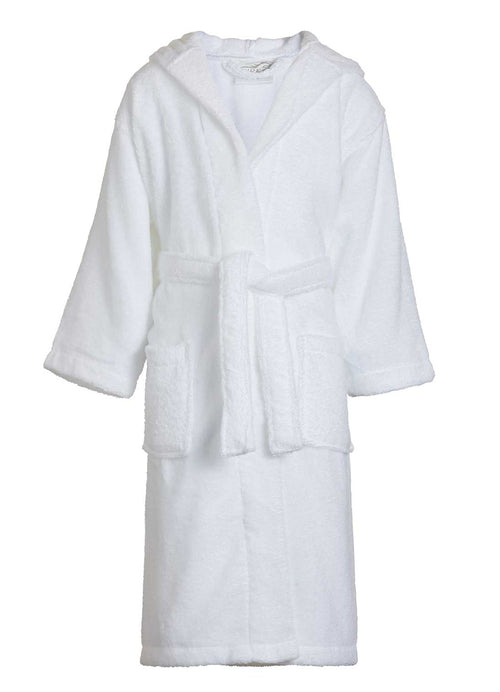 white terry kids bathrobe