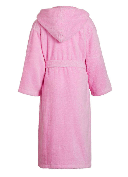 back of kids terry bathrobe in pink