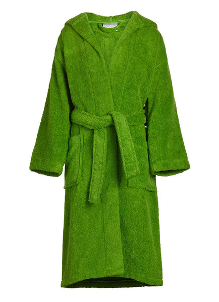 kids terry robe in apple green