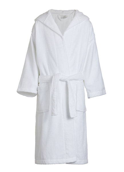white kids velour hooded robe