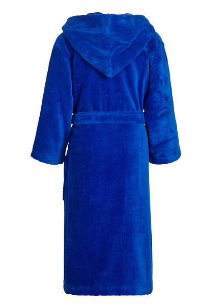 royal blue kids hooded robe back view