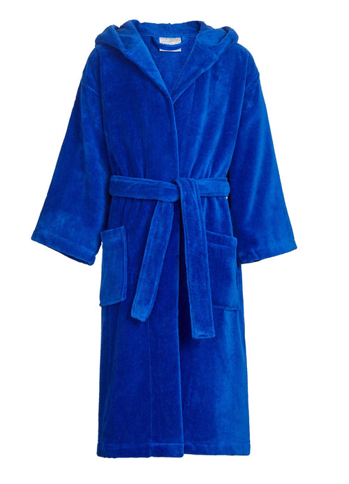 kids hooded robe royal blue