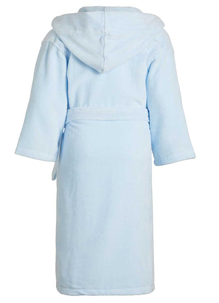 Clearance Kids Hooded Terry Velour Robes - Sky Blue