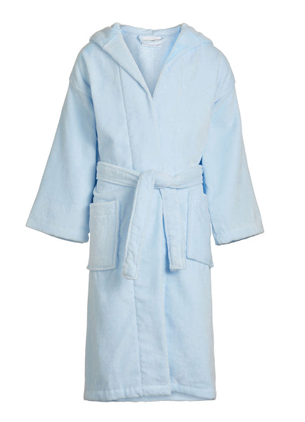 sky blue kids velour hooded robe