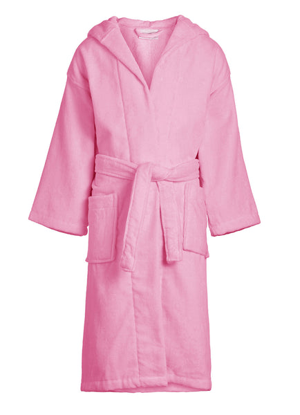 pink kids velour hooded robe