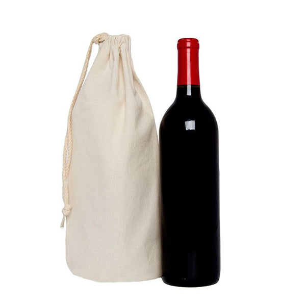 Natural Drawstring Single Wine Bag