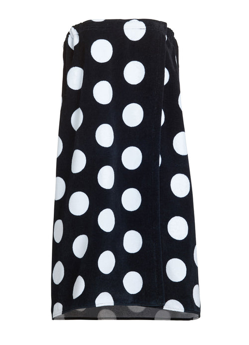 black polka dot pattern terry bathwrap towel