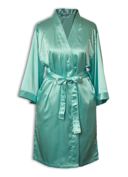 womens satin robe in turquoise
