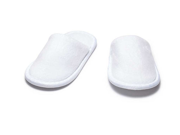 small kids terry velour slippers white