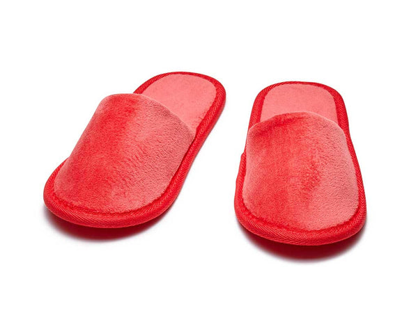 kids red terry velour slippers