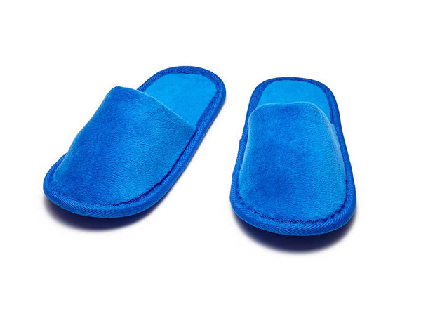 kids terry velour closed toe slippers royal blue