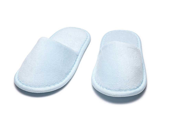 sky blue kids terry velour slippers