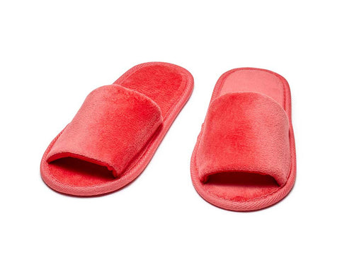 red kids open toe terry slippers