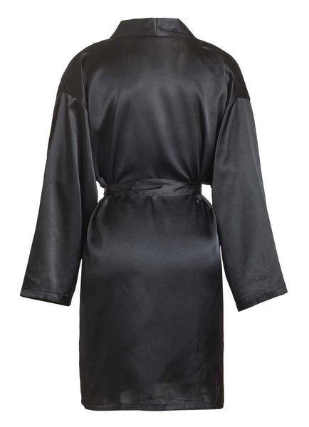 back view of black satin robe