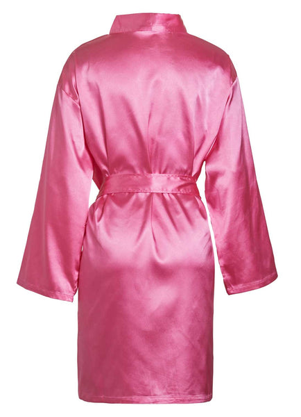 satin robe pink back view