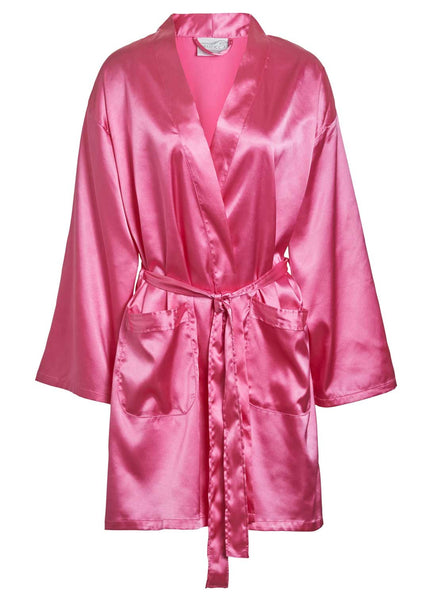 pink satin thigh length robe