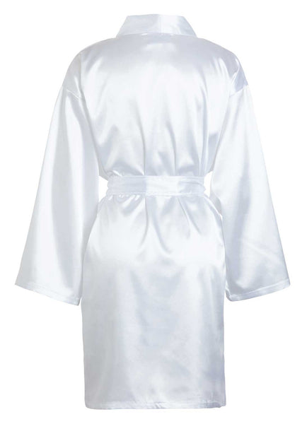 thigh length satin robe white back view