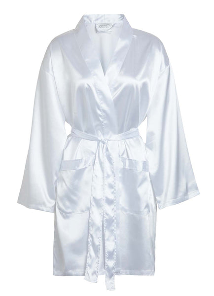 white satin short robe