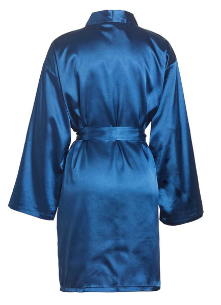 navy blue satin robe back view