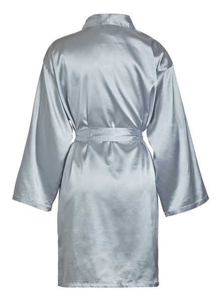 back view of grey satin robe