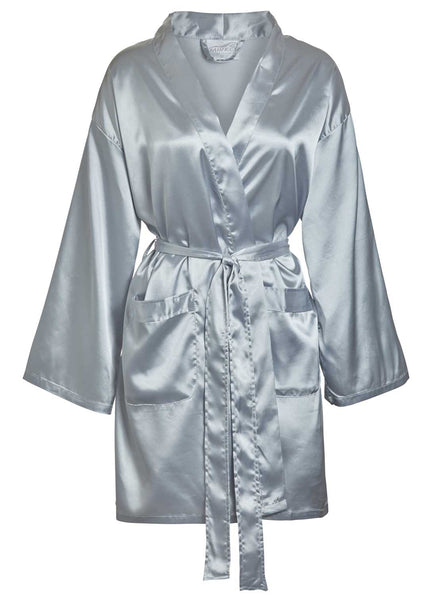 satin robe in grey