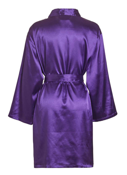 back side purple satin robe