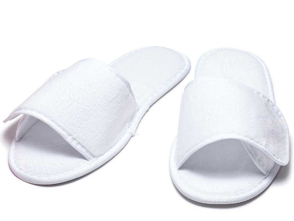 97e354fc5791b5 Terry Slippers with Velcro Closure  white ...
