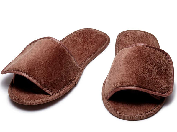 Clearance Terry Velour Slippers with Velcro - Red & Berry & Chocolate